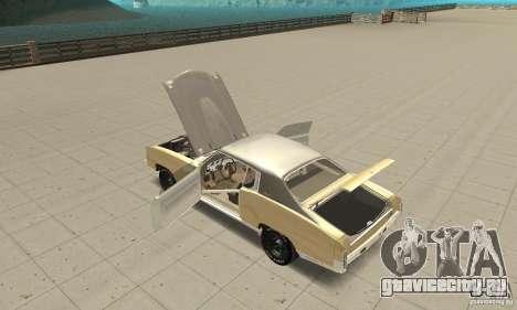 Chevy Monte Carlo [F&F3] для GTA San Andreas вид изнутри