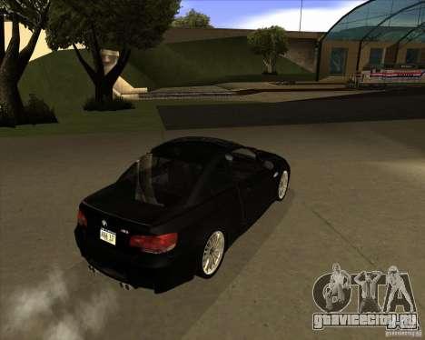 BMW M3 Convertible 2008 для GTA San Andreas вид сзади