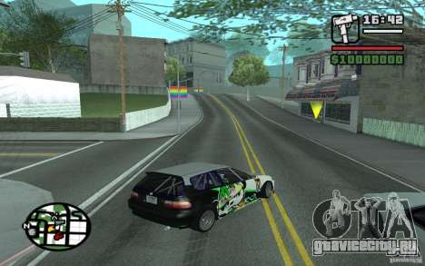 Honda Сivic drift для GTA San Andreas вид сзади