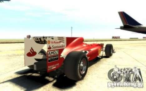 2010 Scuderia Ferrari F10 для GTA 4 вид сзади слева