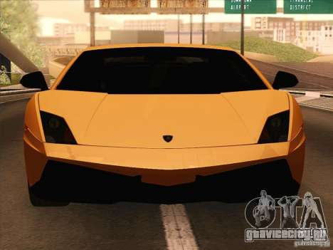 Lamborghini Gallardo Superleggera для GTA San Andreas вид сзади