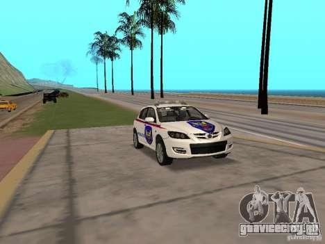 Mazda 3 Police для GTA San Andreas вид справа