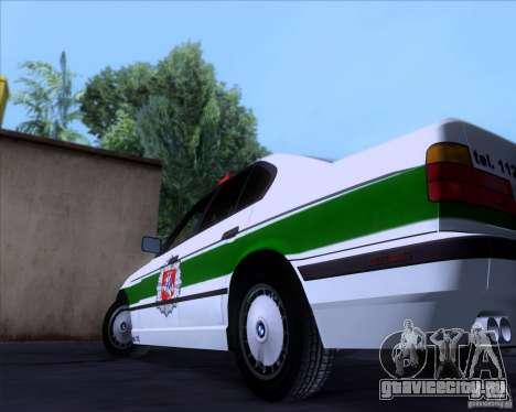 BMW E34 Policija для GTA San Andreas вид изнутри