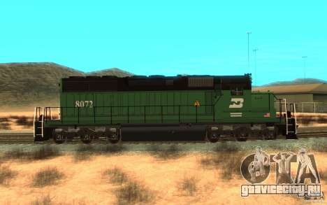 Локомотив SD 40 Burlington Northern 8072 для GTA San Andreas вид слева