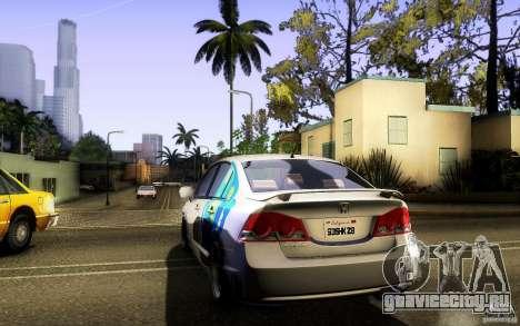 Honda Civic FD BlueKun для GTA San Andreas вид изнутри
