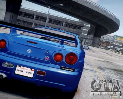 Nissan Skyline GT-R R34 Mspec для GTA 4 вид сзади