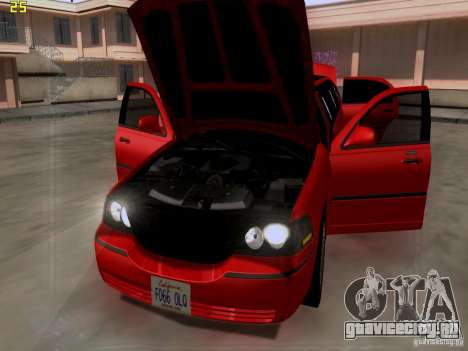 Lincoln Towncar 2010 для GTA San Andreas вид сзади