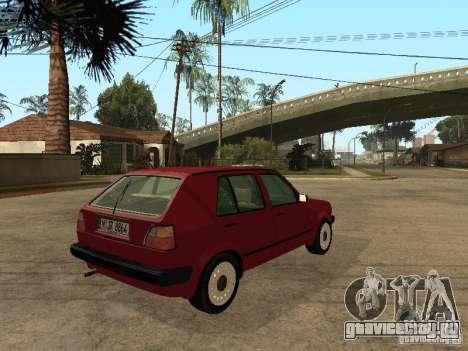 Volkswagen Golf MKII 5dr для GTA San Andreas вид сзади слева