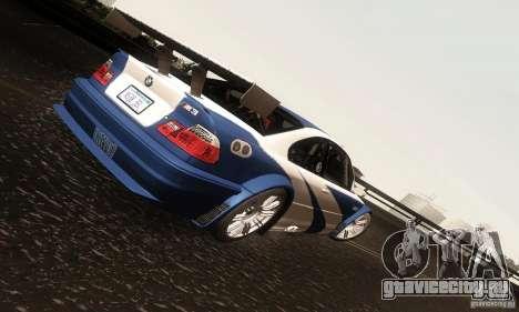 BMW M3 GTR для GTA San Andreas вид изнутри