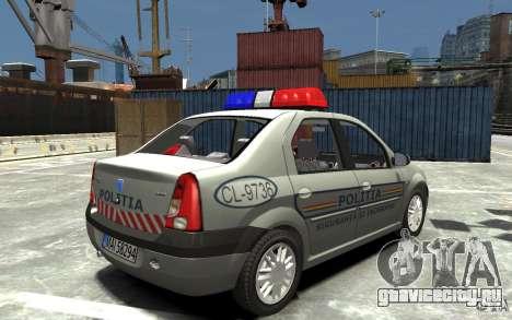 Dacia Logan Prestige Politie для GTA 4 вид справа