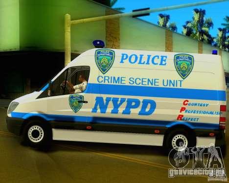 Mercedes Benz Sprinter NYPD police для GTA San Andreas вид слева