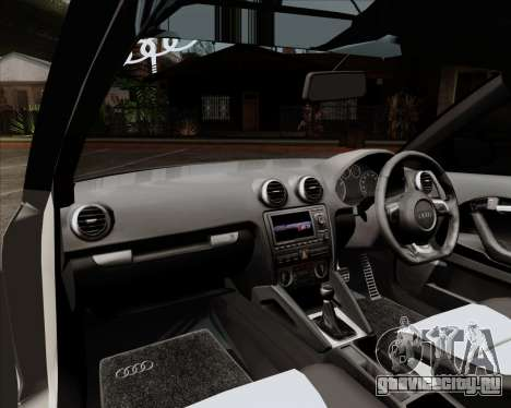 Audi S3 V.I.P для GTA San Andreas вид изнутри