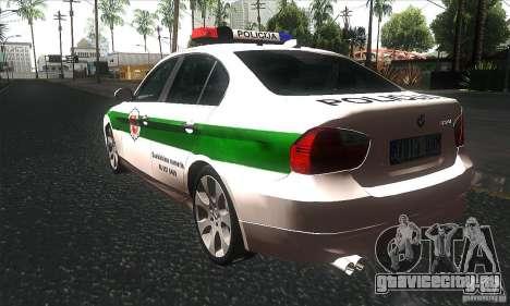 BMW 330 E90 Policija для GTA San Andreas вид сзади слева