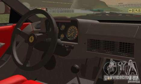 Ferrari Testarossa 1986 для GTA San Andreas вид изнутри