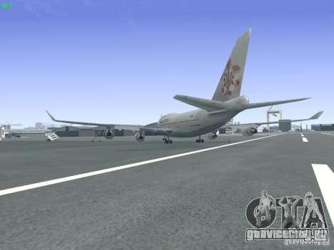 Boeing 747-400 China Airlines для GTA San Andreas вид сзади слева