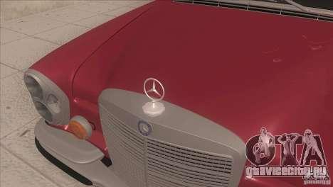 Mercedes-Benz 300 SEL для GTA San Andreas вид изнутри