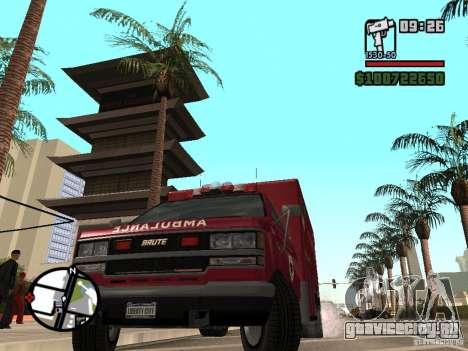 Скорая помощь из GTA IV для GTA San Andreas вид сзади слева