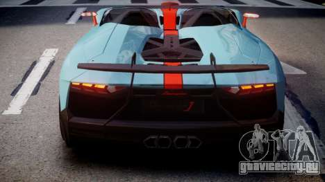 Lamborghini Aventador J 2012 Gulf для GTA 4 вид сзади слева