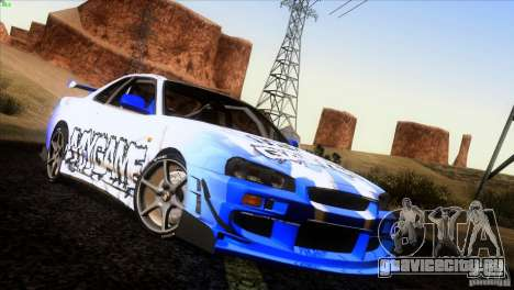 Nissan Skyline R34 Drift для GTA San Andreas колёса