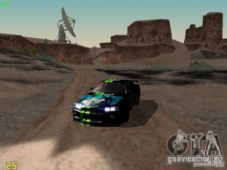 Nissan Skyline GT-R R34 V-Spec для GTA San Andreas вид изнутри