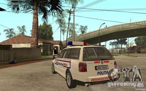 VW Passat B5 Variant Politia Romana для GTA San Andreas вид сзади слева