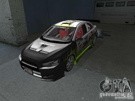 Mitsubishi Evolution X Stock-Tunable для GTA San Andreas вид слева