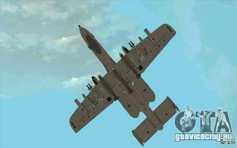 A-10 Warthog для GTA San Andreas вид сбоку