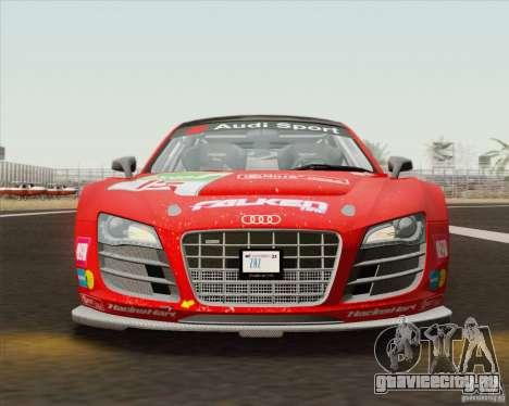 Audi R8 LMS v2.0.1 для GTA San Andreas вид изнутри