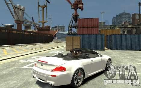 BMW M6 Convertible для GTA 4 вид справа