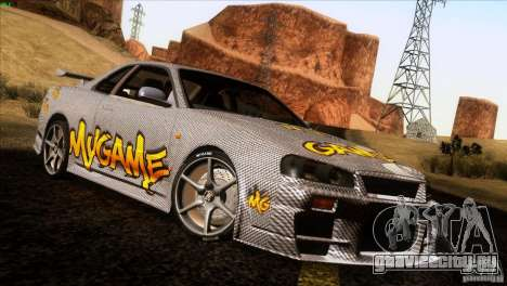 Nissan Skyline R34 Drift для GTA San Andreas вид сзади