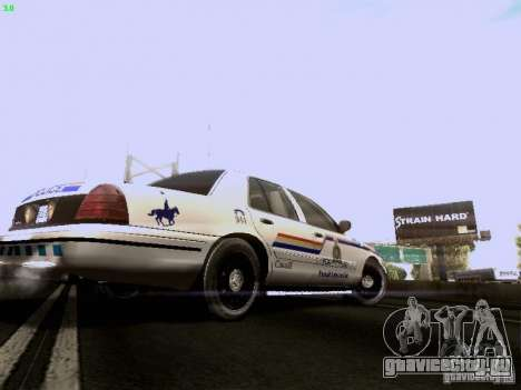 Ford Crown Victoria Canadian Mounted Police для GTA San Andreas вид справа