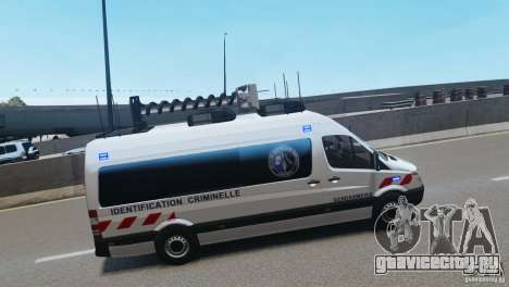Mercedes-Benz Sprinter-Identification Criminelle для GTA 4 вид сзади слева