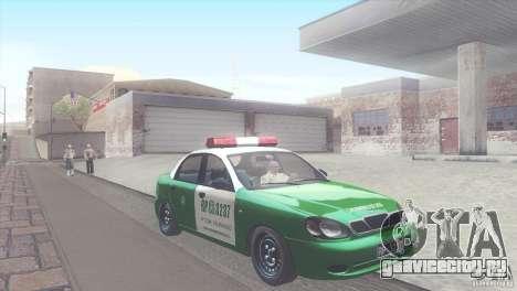 Daewoo Lanos De Carabineros De Chile для GTA San Andreas вид сзади