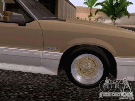 Ford Mustang GT 5.0 Convertible 1987 для GTA San Andreas вид сзади