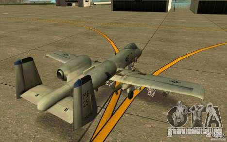 A-10 Warthog для GTA San Andreas вид справа