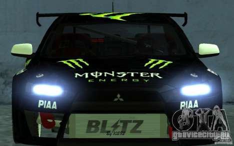 Mitsubishi Lancer Evolution X Monster Energy для GTA San Andreas вид справа