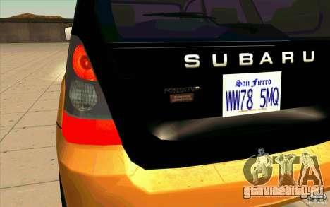 Subaru Forester Cross Sport 2005 для GTA San Andreas вид изнутри