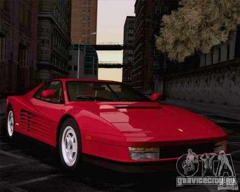 Ferrari Testarossa 1986 для GTA San Andreas вид сзади слева