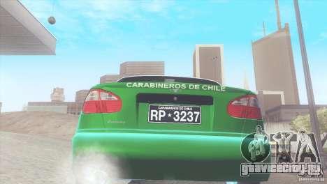 Daewoo Lanos De Carabineros De Chile для GTA San Andreas вид справа