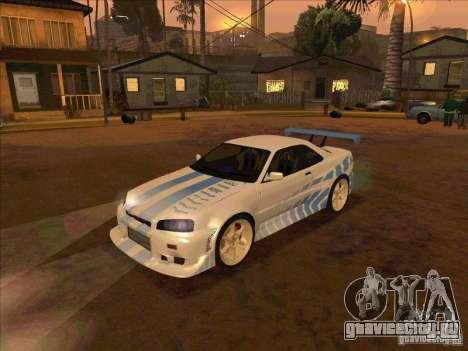 Nissan Skyline GT-R R34 2 Fast 2 Furious для GTA San Andreas