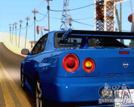 Nissan Skyline R34 для GTA San Andreas вид изнутри