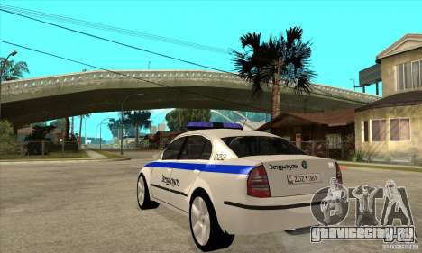 Skoda SuperB GEO Police для GTA San Andreas вид сзади слева