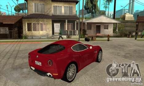 Alfa Romeo 8С Competizione stock для GTA San Andreas вид сзади