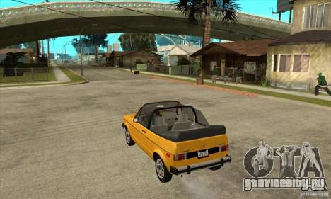 Volkswagen Rabbit Convertible для GTA San Andreas вид сзади слева