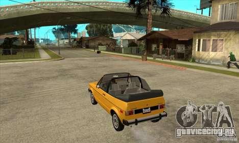 Volkswagen Rabbit Convertible для GTA San Andreas вид сзади слева