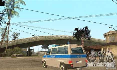 Volkswagen Transporter T4 German Police для GTA San Andreas вид сзади слева