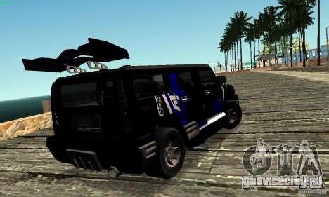 Hummer H2 Tunable для GTA San Andreas вид изнутри