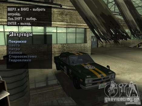 Nissan Skyline 2000 GT-R для GTA San Andreas вид сзади