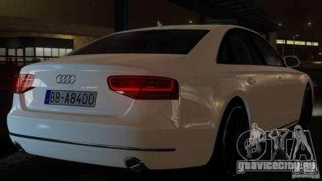 Audi A8 (D4, Typ 4H) 2010 Alpha для GTA 4 вид сзади слева