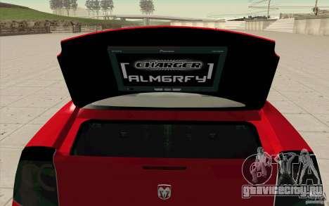Dodge Charger RT 2010 для GTA San Andreas вид сзади